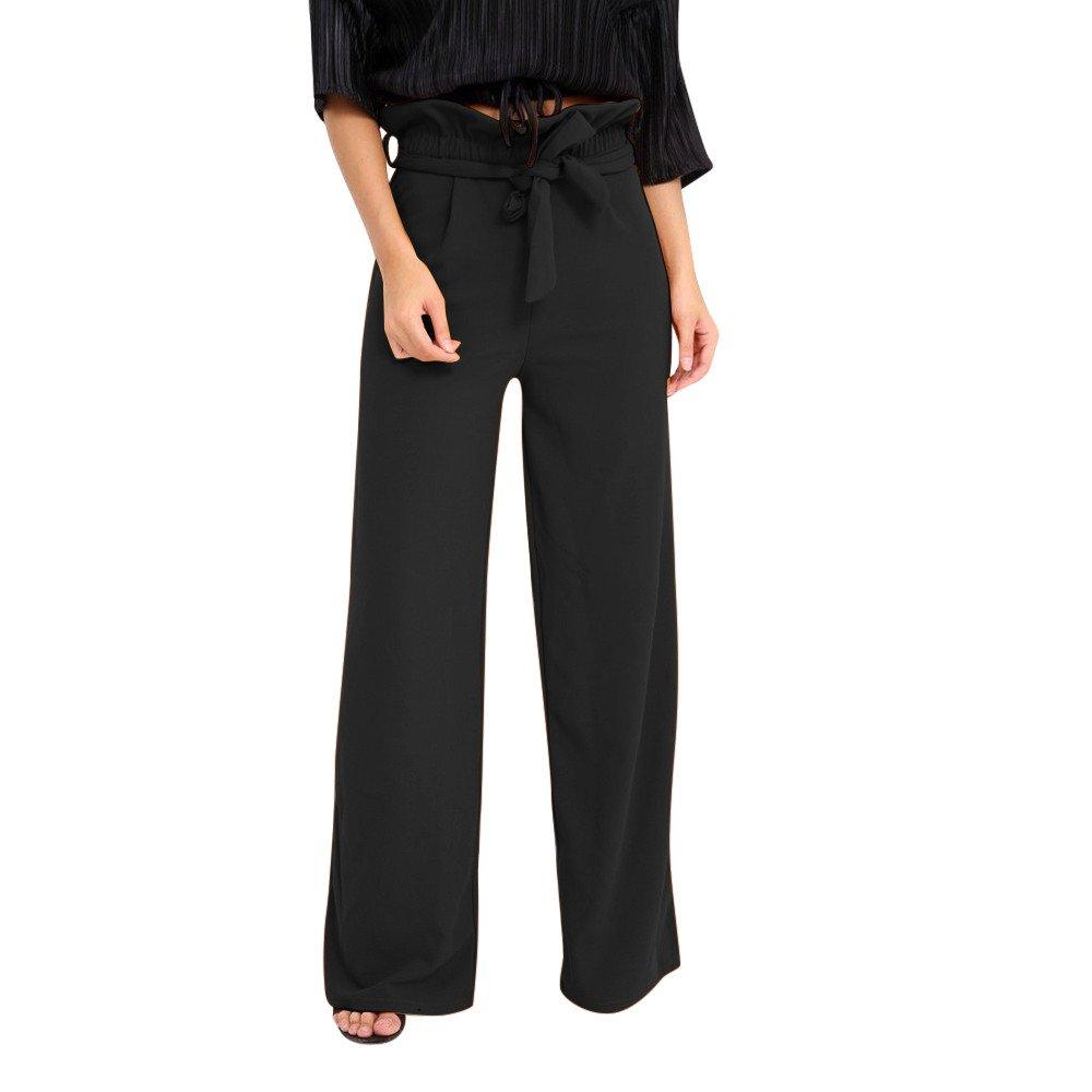 FarJing Clearance Sale! Women Pants Summer Women Pants High Waist Speaker Wide Leg Straps Lotus Leaf Trousers(L,Black