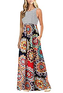 OURS Women's Casual Striped Sleeveless Floral Print Bohemian Tank Dresses Party Evening Long Maxi Dresses with Pockets