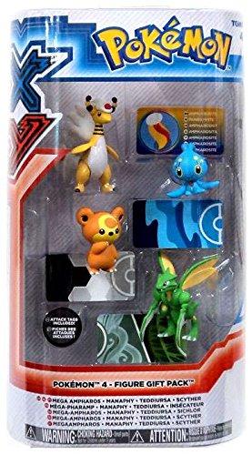 Pokemon X & Y Mega Ampharos, Manaphy, Teddiursa & Scyther Mini Figure - Pokemon Warehouse