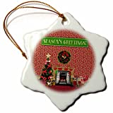 3dRose Beverly Turner Christmas Design - Christmas Room, Fireplace, Tree, Toys, Seasons Greetings - 3 inch Snowflake Porcelain Ornament (orn_267931_1)