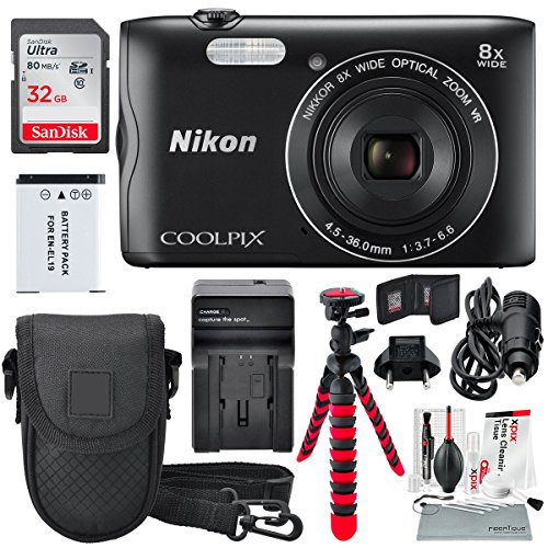 Nikon COOLPIX A300 Digital Camera and Deluxe Bundle w/ Professional 12