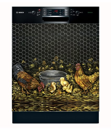 Appliance Art Rooster Family Dishwasher