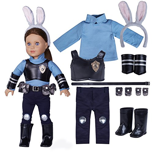 18 Inch Doll Clothes(12 Pieces Zootopia Judy's Clothes Comes with Fun Full set of Accessories fits 18