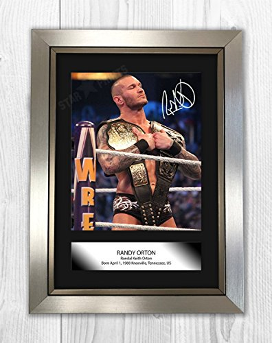 Randy Orton WWE Wrestler Signed Autograph Reproduction Photo A4 (Silver Frame) (Randy Orton Best Photos)