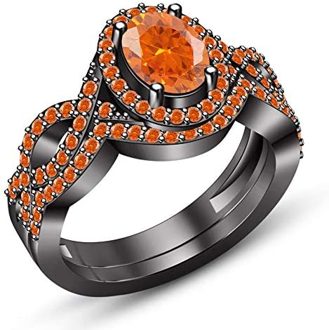 Sai jewels Oval Shape Orange Sapphire Solid 925 Sterling Silver Womens Bridal Anniversary Ring Band Set