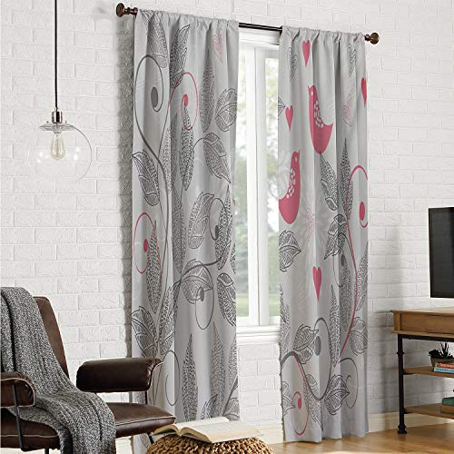 Mozenou Fit Window Curtain Assorted Colors Room Darkening Curtains for Bedroom Pink and Grey,Retro Floral Love Birds on Branches Leaves Romantic Nature Vibes Graphic,Pale Grey Pink W108 x L108 Inch (Atlanta French Furniture)