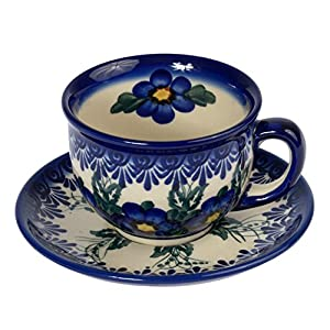 Traditional Polish Pottery, Handcrafted Ceramic Teacup and Saucer 210ml, Boleslawiec Style Pattern, F.101.Pansy