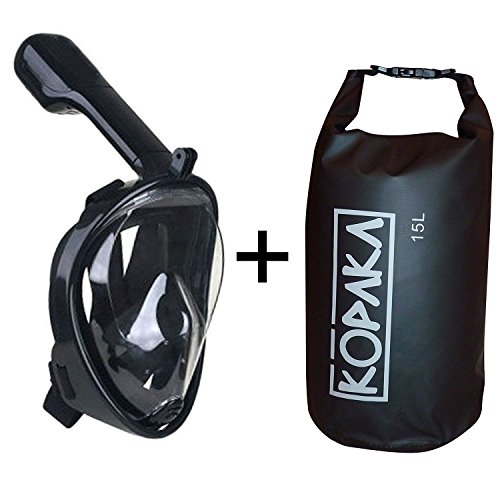 Full Face Snorkel Mask and Kopaka Waterproof Dry Bag, GoPro Compatible Multiple Sizes and Colors Available (Black Mask + Black Bag, L/XL)