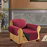 Elegant Comfort QUILTED REVERSIBLE FURNITURE PROTECTOR for Pet Dog Children Kids -2 TIES TO STOP SLIPPING OFF Treatment Microfiber As soft as Egyptian Cotton Burgundy/Black Chair