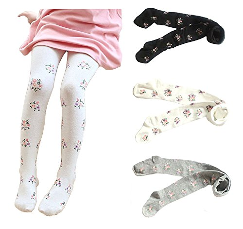 Gellwhu 3-Pack Cotton Girl Tights Kids Pantyhose Flower Print Stocking 3-9 Years (3-5T)