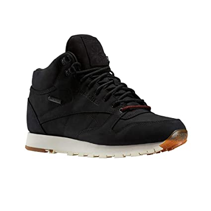 115686376 Amazon.com  Reebok Classic Leather Mid GTX-Thin (Black Paperwhite ...