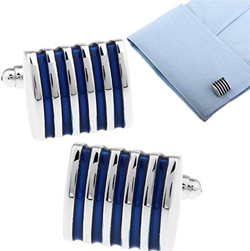 westeng 1/Par Cufflinks personnalit/é simple bande Boutons de manchette Bleu Boutons de chemise Boutons de manchette