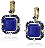 "Judith Ripka ""Lila"" 18k Gold Lapis Doublet Asscher-Cut Drop Earrings (1/10cttw, G-H Color, SI1 Clarity)"