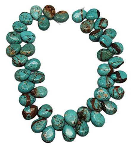 15x20mm Blue Turquoise Tear Drop Bead Strand With Thick Rusty Matrix (44 Piece)