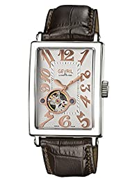 Gevril Men's 'Avenue of Americas' Automatic Stainless Steel and Leather Casual Watch, Color:Brown (Model: 5070)