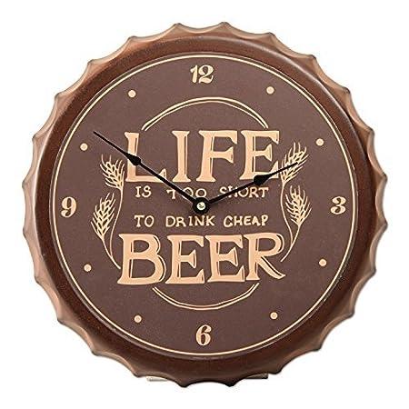 Tag Beer Cap Life is Too Short Wall Clock Vintage Brown