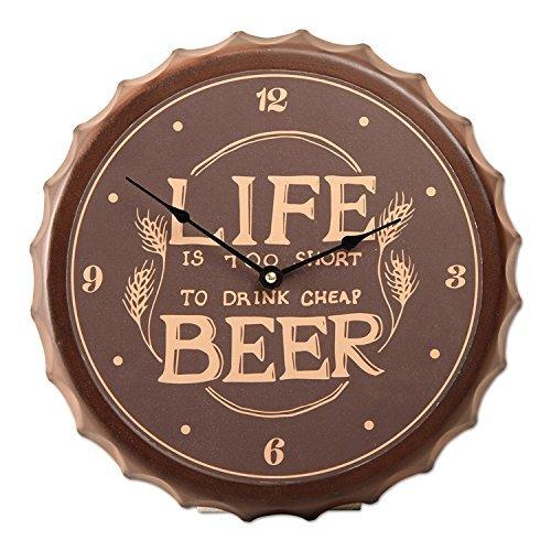 Tag Beer Cap Life is Too Short Wall Clock Vintage Brown ()