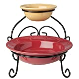 Signature Housewares Sorrento Collection Chip-and-Dip Server, Burgundy/Gold Antiqued Finish