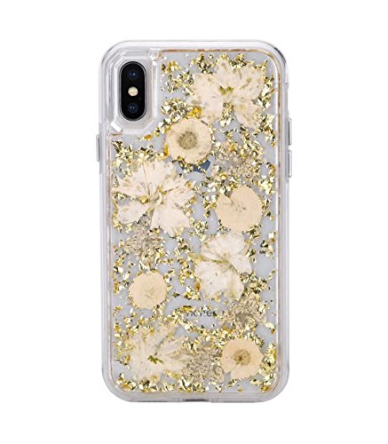 iPhone Xs Max Case,HuiFlying Luxury Gold Foil Glitter Case - Made with Real Natural Flowers Durable Shockproof TPU Frame&PC Back Protective Case for Apple iPhone Xs Max (Gold Flower) ()