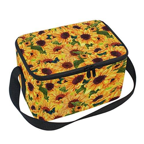 wer Canvas Zipper Insulated Lunch Bag Cooler Tote Bag, Yellow Sunflower Lunch Box Lunchbox Meal Prep Handbag for Adult Men Women Kids Girls Boys (Flower Girl Canvas Tote Bag)