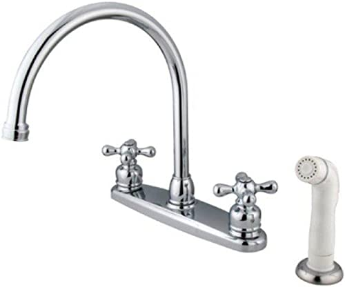 Classic Double Handle Kitchen Faucet in Polished Chrome Finish