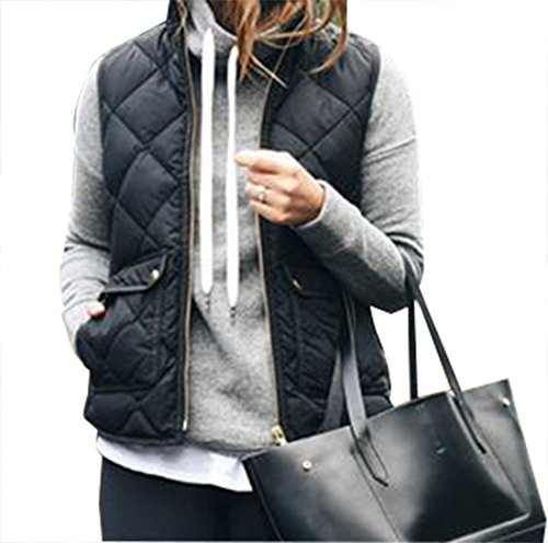 Yi Xian Women's Stand Collar Warm Padded Zip Closure Side Pockets Gilet Quilted Puffer Vest (US 4 (S), Black) ()