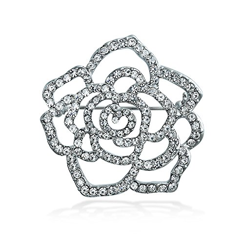 (Bling Jewelry Large Rose Flower Shape Open Pave Crystal Wedding Brooch Pin for Women Silver Tone Rhodium Plated Brass )