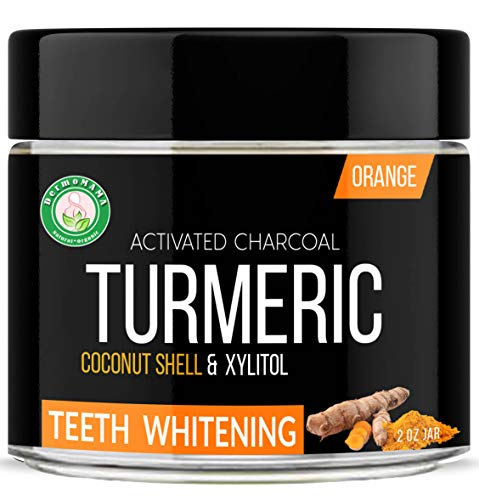 Turmeric Activated Charcoal Powder With Xylito Teeth Whitening Made of Coconut Shell with other Natural and Organic Ingredients by Dermomama (Orange)