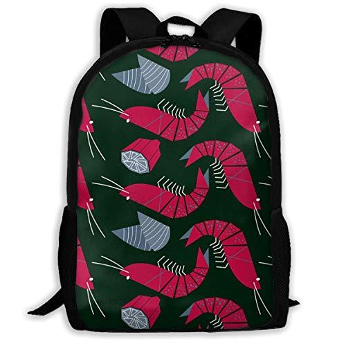 (SARA NELL School Backpack Shrimp Mussels And Lemon Bookbag Casual Travel Bag For Teen Boys Girls )