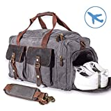 22'' Large Multi-Functional Canvas Travel Duffel Bag Overnight Carry On Bag Travel Tote Shoulder Bag Grey