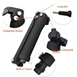 Taslar 3-Way Grip Arm Foldable Selfie Stick, Stabilizer Adjustable Monopod Mount Holder For Action Cameras And All Gopro Hero With Long Screw (Black)