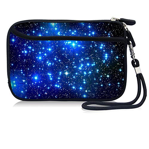 Cell Phone Bag,Carrying Travel Case, Neoprene Small Wristlet Wallet Coin Purse With Strap And Pocket For iPhone 6 7 8 S Samsung Galaxy S4 S5 S6 S7 S8 S9 Huawei P10 P20 (Blue Galaxy)