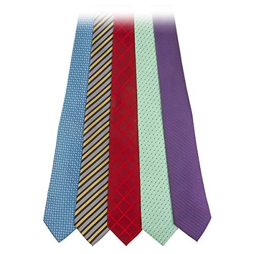 Debonair Luxury Neckties Collection in Gift Box | Five Handmade Italian Fabric Neckties | Two Tie Bars | Handcrafted Gift Box