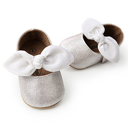 (Antheron Baby Girls Non-Slip Mary Jane Flats with Bowknot Toddler First Walker Sandals Princess Dress Shoes (Silvery White,12-18 Month))