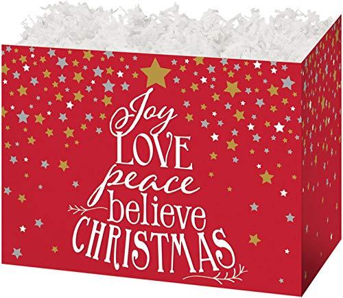 Gift Basket Boxes, Set of 6 - Joy Love Peace Believe Christmas ()