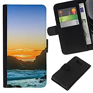 All Phone Most Case / Oferta Especial Cáscara Funda de cuero Monedero Cubierta de proteccion Caso / Wallet Case for Samsung ALPHA G850 // Sunset Rocky Beach