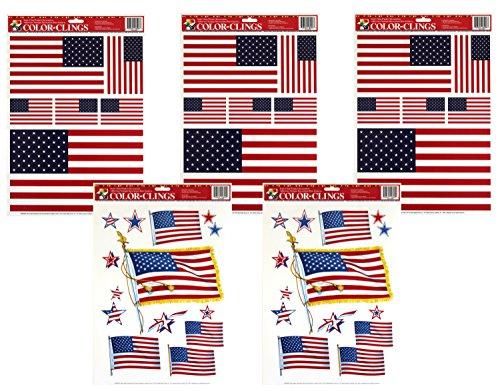 Paper Magic 5-Sheets Window Clings - American Flags