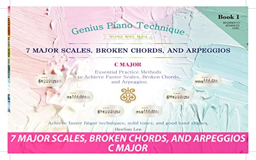 Easy Piano Software - GENIUS Piano Technique Series C Major 1, Piano Scales Arpeggios Book, Excellent learning Piano Keyboard, Good for start your own music, Easy piano learning book, Piano notes (C Major Book)
