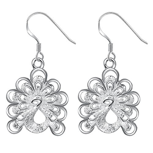 OUBEY Peacock'S Tail Animal Beautiful Silver Earrings For Women Silver (Chipmunk Ears And Tail)