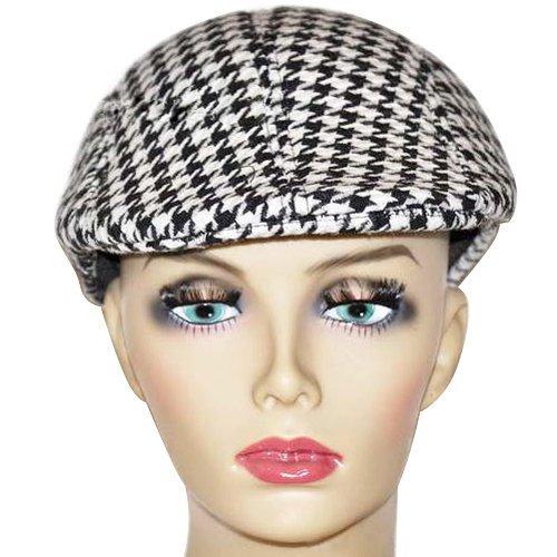 TOOGOO(R)Hommes Tweed Laine a Chevrons Plat Chapeau Pointe Chapeau avec doublure matelassee - Noir & Blanc