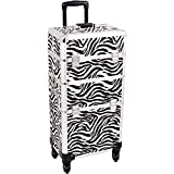 SUNRISE Makeup Case on Wheels I3261 2 in 1 Hair Stylist Organizer, 4 Wheel Spinner, 3 Trays and 1 Removable Tray, Locking with Mirror and Shoulder Strap, White Zebra