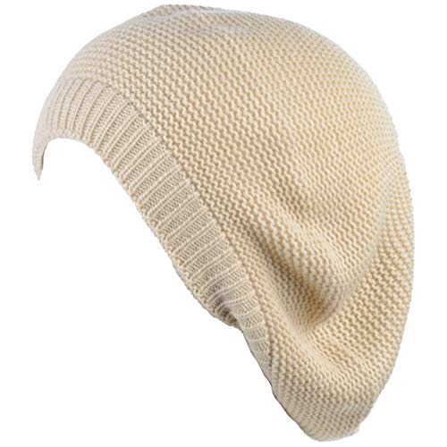 JTL Beret Beanie Hat for Women Fashion Light Weight Knit Solid Color (One Size, Cream) (Baggy Beret Hats For Women)