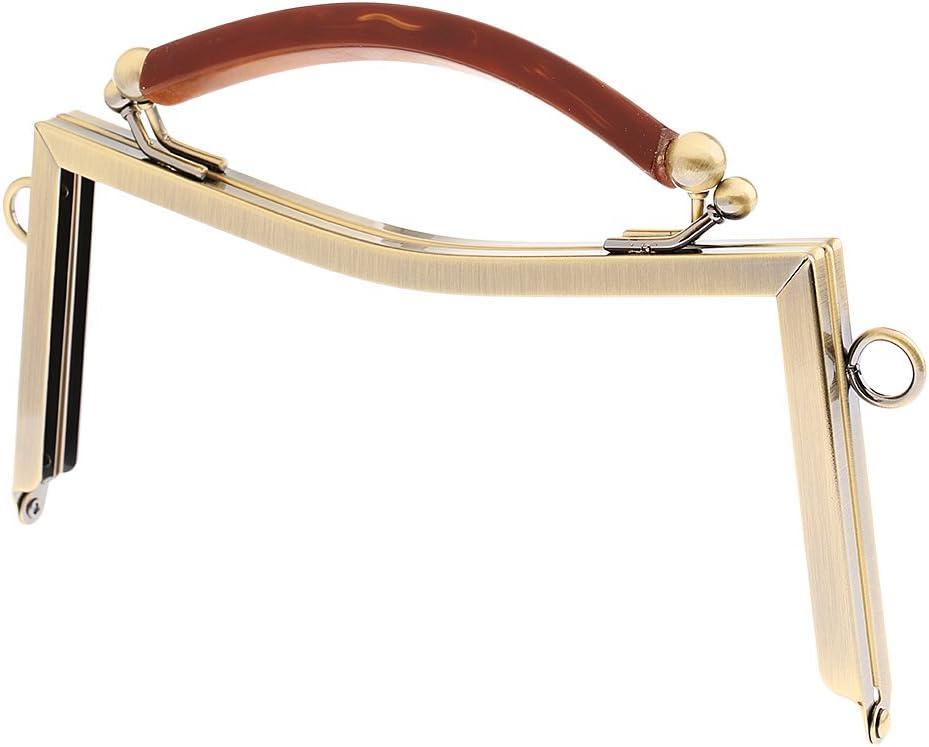 Stil 1-Antiqued Messing MagiDeal Taschengriff Taschenverschluss Metallb/ügel mit Klippverschluss Taschenb/ügel Taschengriff
