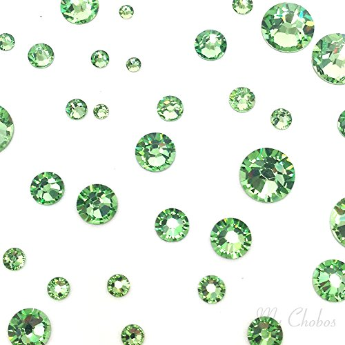 Green Peridot - PERIDOT (214) green 144 pcs Swarovski 2058/2088 Crystal Flatbacks green rhinestones nail art mixed with Sizes ss5, ss7, ss9, ss12, ss16, ss20, ss30