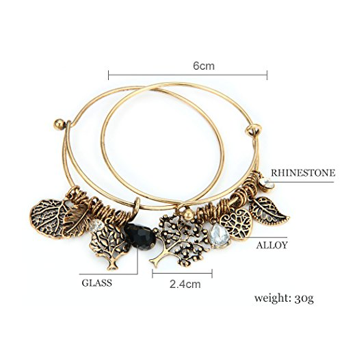 1 Set 2 Pcs Tree of Life Leaves Feather Rhinestone Pendant Bangle Bracelet