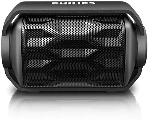 Philips BT2200B/27 Shoqbox Mini Rugged Compact Wireless Waterproof Outdoor or Shower Portable Bluetooth Speaker (Black)
