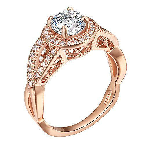 Round Diamond Cut Eternity Love Twisting Split Shank Engagement Ring Size 5-10 Jewelry (Rose Gold, 7) by Lavencious (Image #1)