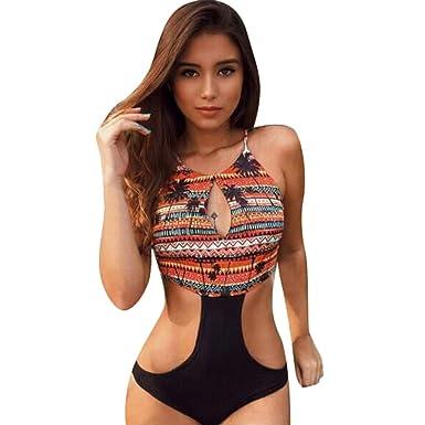 Trikini Mujer Verano, MINXINWY Bañador Mujer brasileño una Pieza Push up Conjunto de Traje de baño Estampado de la Hoja sin Espalda Sexy para Mujer
