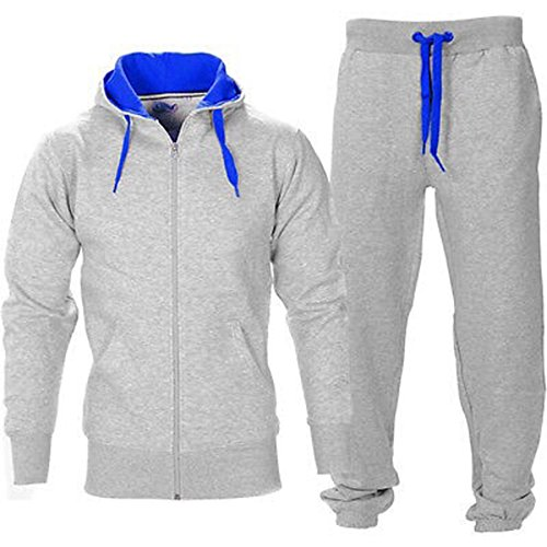 OOPS OUTLET Men's Gym Contrast Jogging Full Tracksuit Hoodies Fleece Joggers Set X-Large Grey/Royal Blue ()