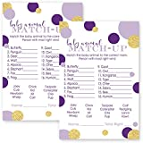 Purple and Gold Animal Match Baby Shower Game Cards 25 Pack